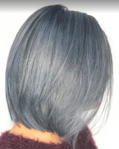 gray bob with light blue highlights