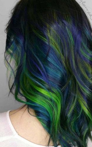 peacock gren hair