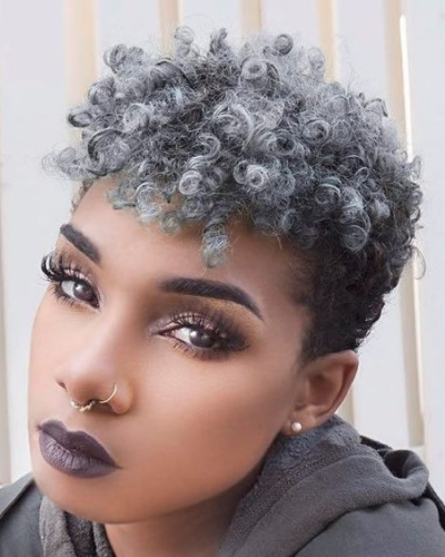 short hair with light gray curls