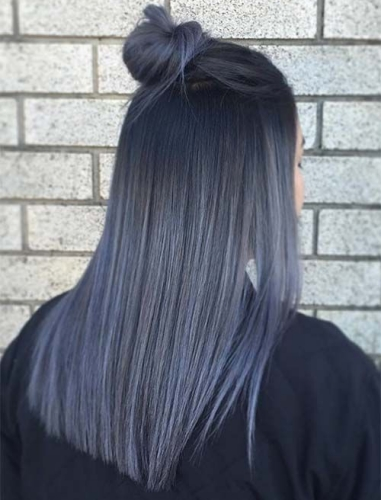 smokey blue and gray winter hair